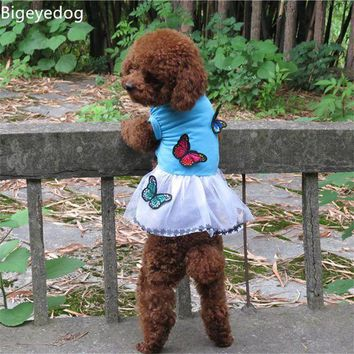 PEAPON Bigeyedog 2017 New Pet Dog Dress Cute Butterfly Tutu Skirt Dog Clothes Summer Wedding Dress Puppy Clothing Chihuahua Poodle