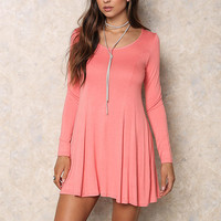 Coral Jersey Knit Trapeze Dress