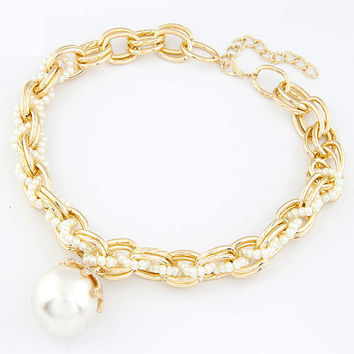 Simple Style Golden Short Pendant Necklace with Pearl , Elegant Jewelry, Party Jewelry, Lady-wearing Jewelry, Birthday Gift 9051248