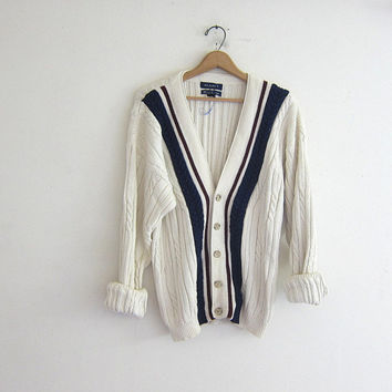 20% OFF SALE vintage cable knit cardigan. Long white and navy blue preppy button down sweater. stripe sweater.