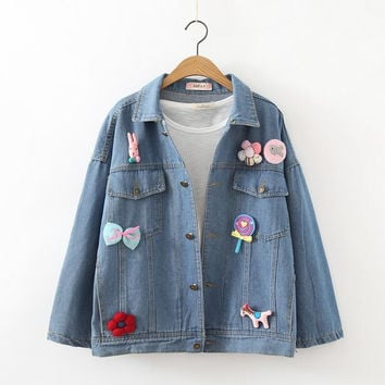 Childhood Memory -- 3D Lollipop horse flowers brooch applique kawaii jean denim single-breasted coat jacket female autumn