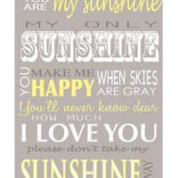 You are my Sunshine, Canvas word art 20x30, Girls room canvas sign,
