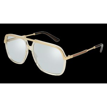Gucci - GG0200S-005 Yellow Gold Sunglasses / Light Blue  Lenses