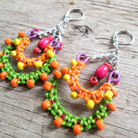Bohemian Chandelier Earrings - Green and Orange Earrings - Colorful Earrings - Boho Jewelry - Unique Jewelry - Gift for girlfriend - Artisan