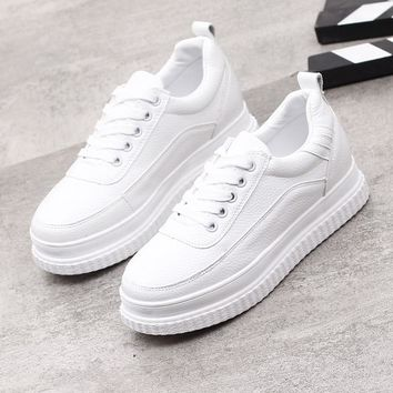 Fashion  Sneakers Muffin Bottom Thick Bottom Casual Shoes Lace Up White Shoes