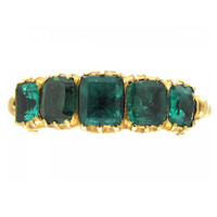 Georgian Emerald Gold Five Stone Ring