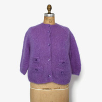 Vintage 60s MOHAIR CARDIGAN / 1960s Hand Knit Bright Lilac Purple Shaggy Wool Cardi Sweater