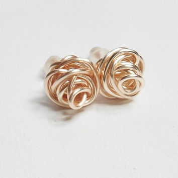 Love Knot Rose Rose Gold Stud Earrings