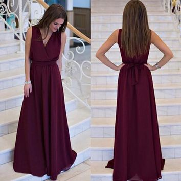 V-neck Sleeveless Lace Up Pleated Solid Long Dress