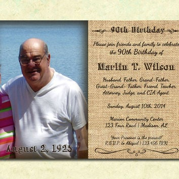 Burlap Rugged Men's Birthday Invitation - Photo Adult Birthday Invite - Rustic Man Birthday Invitation - Mens Party