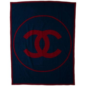 Chanel Red Blue Wool Cashmere Logo Men's Home Decor Table Couch Throw Blanket
