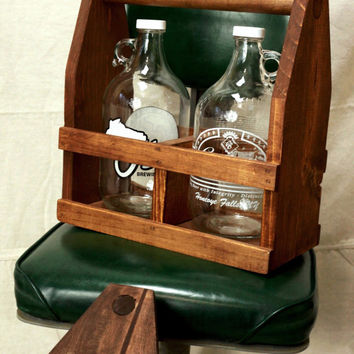 Wooden Craft Beer Growler Carrier / Beer Caddy, Father's Day Gift, Homebrew Groomsmen Wedding Gift