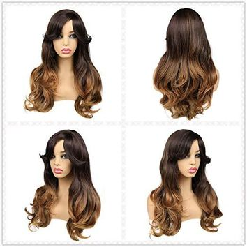 Ombre Wig Brown to Blonde Nature Wave Heat Resistant