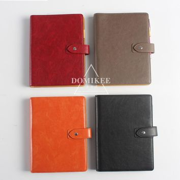 2017 New leather 6 hole spiral notebooks,classic office school personal binder agenda planner organizer notebook stationery  A5
