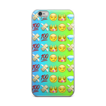Grin Princess Crown Cash Money With Wings Blue Diamond & 100 Emoji Collage Teen Cute Girly Girls Tie Dye Sky Blue & Green iPhone 4 4s 5 5s 5C 6 6s 6 Plus 6s Plus 7 & 7 Plus Case