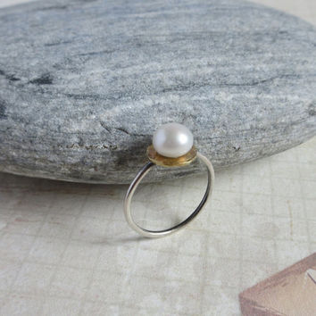 White Pearl Raw Brass Sterling Silver Ring, Minimalist Modern Ring, June Birthstone Jewelry