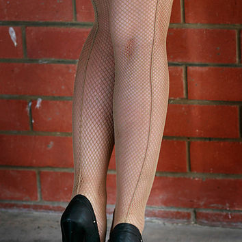 High Quality  Beige Backed Seamed Fishnet Nylon Stockings Tights One Size Dance Retro Ball room