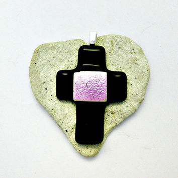 Fused Dichroic Glass Cross Pendants - Black and Pink Dichroic Cross Pendant