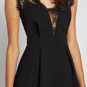 Black Dress W/ Lace Details And Pockets
