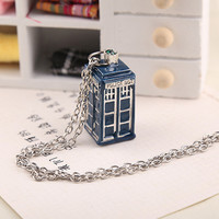 New BBC Television Doctor Who Tardis Police Box Vintage Blue Chain Necklaces Pendants Men Women Jewellery Gifts Free Shipping
