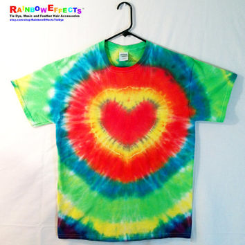 Tie Dye T-shirt - Glowing Heart - Hippie Tee