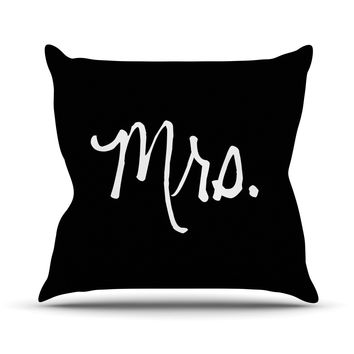 "KESS Original ""Mrs. - Black"" Couples Outdoor Throw Pillow"