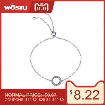 WOSTU 11.11 Sale 925 Sterling Silver Glittering Round Circle Chain Link Strand Bracelet For Women Sterling Silver Jewelry CQB030