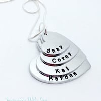 Hand stamped personalised stacked heart mothers necklace