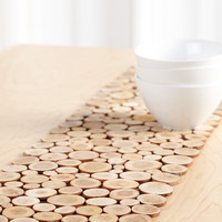 Mini wood slices table runner 25 x 100 and 25 x 140 cm
