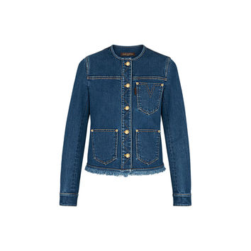 Products by Louis Vuitton: Stonewashed Denim Jacket With Fringes