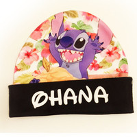 Lilo and Stitch  Hawaiian Floral Beanie | Disney Hat | Ohana
