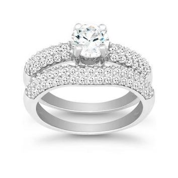 Forever Love Engagement Ring Set, Clear CZ