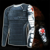 3D Winter Soldier Avengers 3 Compression Shirt Men Long Sleeve Fitness Crossfit T Shirts Male Clothing Tops