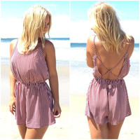 Starlette Stripe Romper In Burgundy