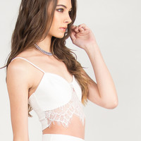 Lace Detail Sweetheart Cropped Top - Ivory
