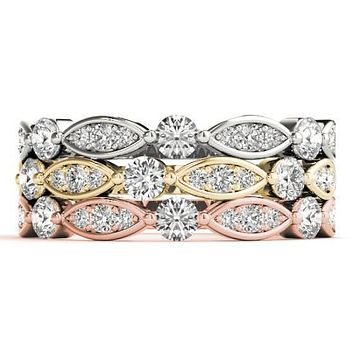 Stackables 1/2 Eternity Tri-Tone Gold Marquise Bezel Diamond Accent 3-Band Set Selectables