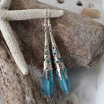 "Design and handmade in Hawaii, Blue ""Long Tear Drop"" sea glass earrings, gift box, Mother's Day gift"