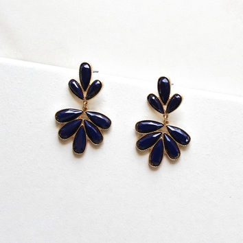 Captivating Cluster Earrings in Navy