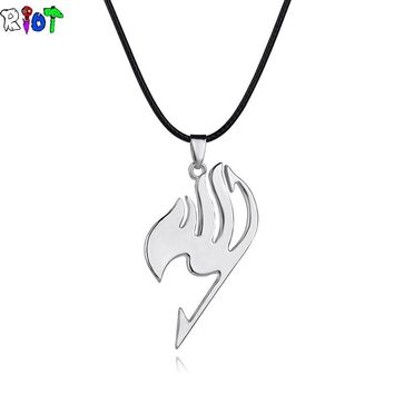 Fairy Tail choker necklace guild logo tattoo leather chain alloy pendant Anime fashion jewelry leather rope for men and women