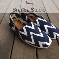 Blue Chevron,Chevron,New Style Chevron Shoes,Studio Hand Painted Shoes Custom Shoes,Canvas Shoes,100% Hand Painting-Wen's fashion shoes-Flat