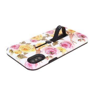 Floral Pattern Embossment Phone Case Slim Fit Hard Case Shockproof Anti-scratch Phone Cover Case with Kickstand and Rubber Strap for iPhone