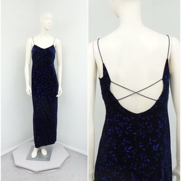 Vintage 90s Midnight Blue Velvet Dress, Evening Gown, Prom Dress, Glitter Dress, Long Formal Dress, Floor Length Dress, Criss Cross Dress