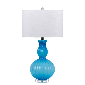 Cal Lighting BO-2436TB-BL Hand Blown Blue Glass Table Lamp with White Shade