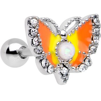 White Faux Opal Orange Butterfly To a Flame Tragus Cartilage Earring