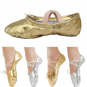 Sports Ballet Dancer Shoe Dance Feet Wearing Shoes Pointed Sequin Leather Ballet Dancing Shoes