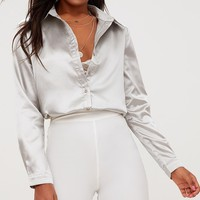 Truffle Satin Button Front Shirt