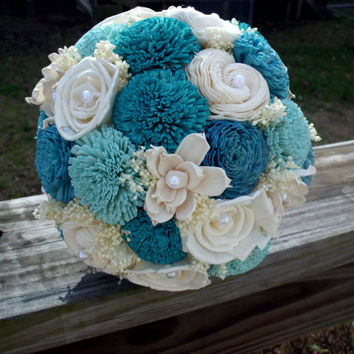 Rustic blue bridal bouquet sola flower bridal bouquet beach bouquet rustic bouquet burlap sola flower blue teal turquoise