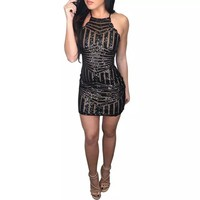women Sequined Cocktail Party Dresses Sexy Sleeveless tight Mini Dress Sexy Club Night Bodycon Dress