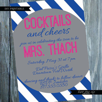 Cocktails and Cheers: Preppy Bachelorette Invitation - Customized Bachelorette Bridal Shower Invitation - Girls Night Out Invitation