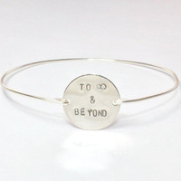 To Infinity and Beyond Bangle Bracelet, Love Statement Silver Jewelry, Stamped Silver Disc Wire Band Bangles